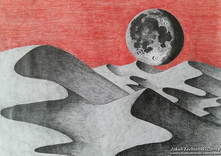 """Rysunek """"Księżyc i Pustynia"""" 2014. The Moon and the desert."""