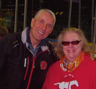 Calgary Flames Head Coach Bob Hartley and me Tina Johnson - Calgary Musician www.HiTina.com