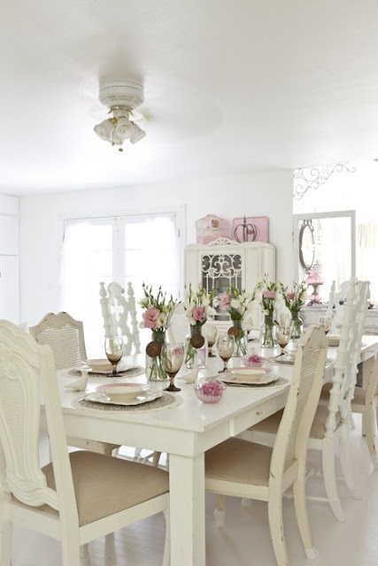 shabby chic dining white cottage country decor
