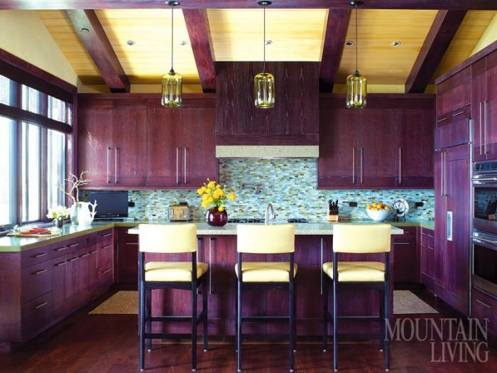 The kitchen cabinets are white oak with an aubergine for Aubergine kitchen cabinets