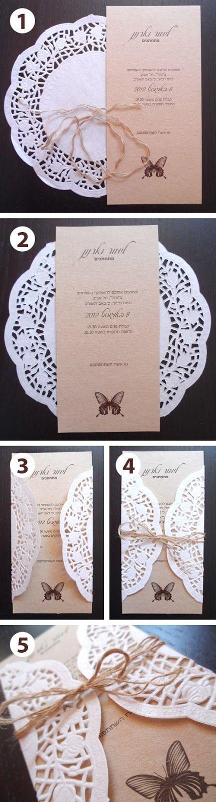 Las blondas o doilies son perfectas para dar el toque romántico a todas las invitaciones para bodas rústicas y aqui hay un paso a paso muy simple para lograrlo.