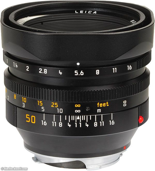 Leica 50mm f/1 Noctilux 4th Gen (c. 1998). Still one of the very best fast lenses of all time.