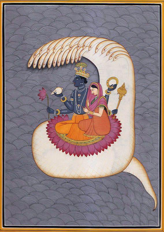 Lord Vishnu and Goddess Lakshmi on Sheshnag