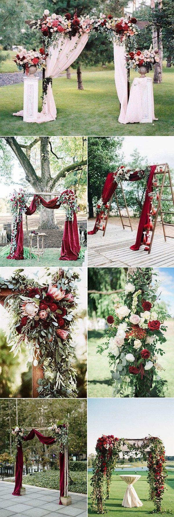 outdoor-chic-burgundy-wedding-arch-decoration-ideas.jpg (600×1779) Outdoor Wedd…