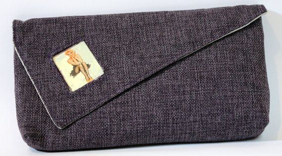 Purple clutch bag with glass aplication of Pin-up by meerrorart