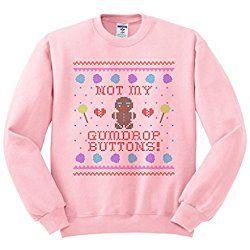 TeesAndTankYou Men's Not My Gumdrop Buttons Gingerbread Man Crewneck Sweatshirt Medium Pink