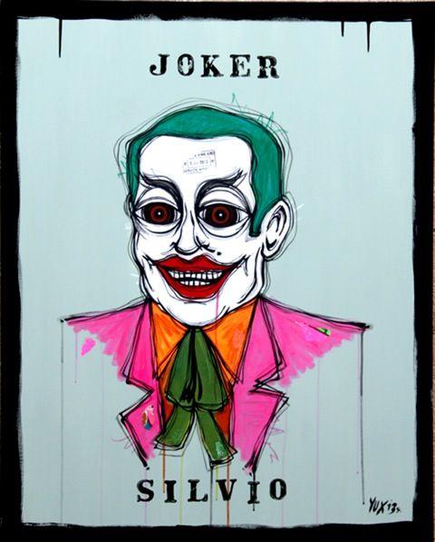 Joker Silvio http://www.pisacanearte.it/index.php/artisti/y/yux/yux-joker-silvio-acrilico-pastelli-a-cera-smalto-e-manifesti-su-tela-80x100-cm.html
