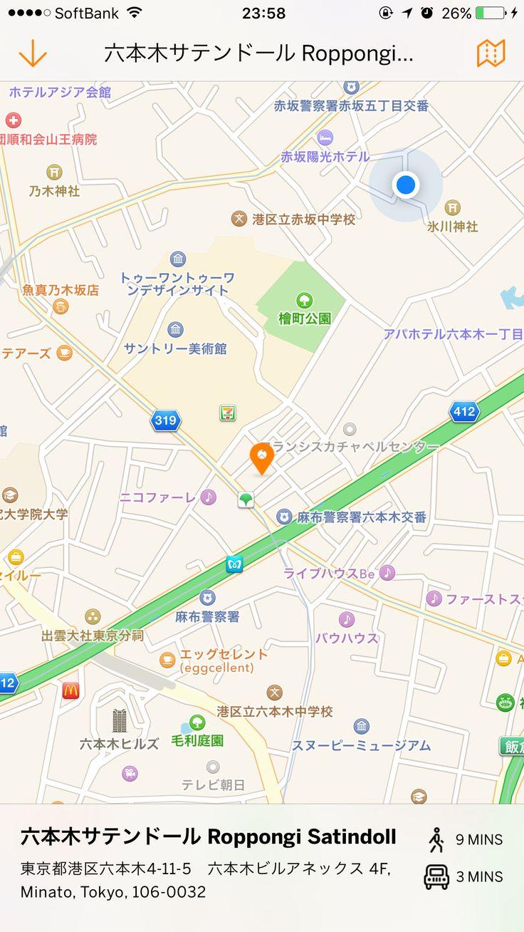 eventbrite イベント詳細の地図をタップして全画面表示されるときに、現在地からの徒歩と車での到着時間がわかる