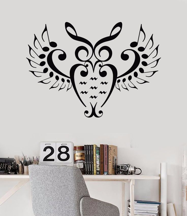 Vinyl wall decal music owl bird notes nursery musician teenager stickers 690ig