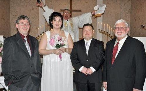 This one is my favorite wedding photo bomb. From Funny Wedding Photos: 21 Epic Photobombs