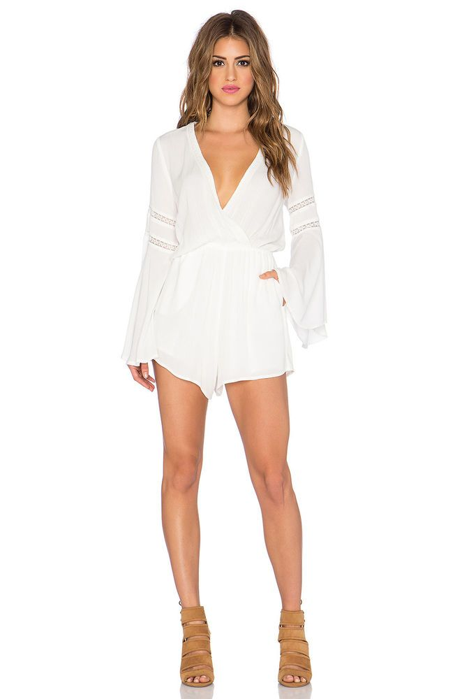 43f3fc5b6e3 L SPACE Lovestruck VNeck Solid Vintage Romper Shorts Cover Up Ivory White S   129  LSpace  Romper  Casual