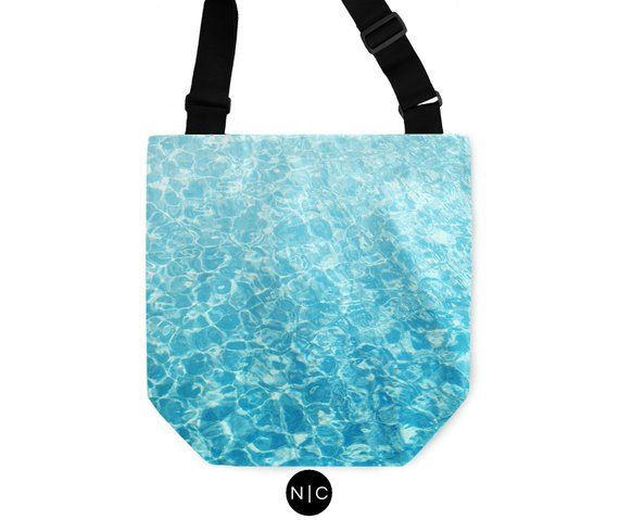 Crystal Oceans – Tote Bag, Caribbean Blue Aqua Water Pattern Style, Boho Chic Beach Surf Fashion Accessory Sling Bag. In Basic & Adjustable – Products