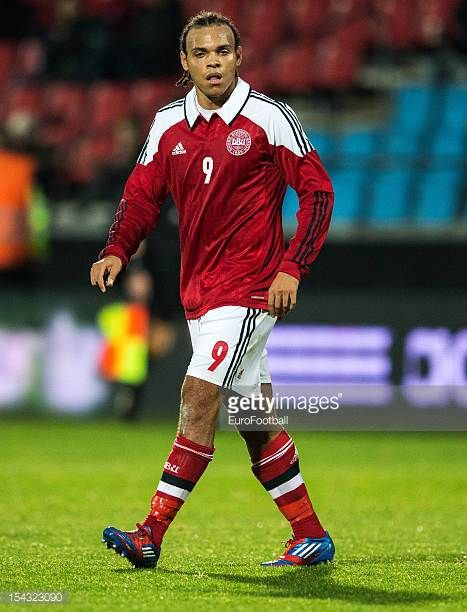 Martin Braithwaite of Denmark in action during the UEFA European Under21 Championship playoff second leg match between Denmark and Spain held on...