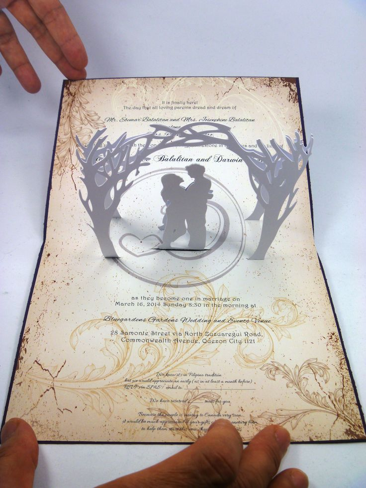 how to address couples on wedding invitations%0A Couple Under Tree Pop Up Wedding Invitation Visit www  for more pop up wedding  invitation ideas