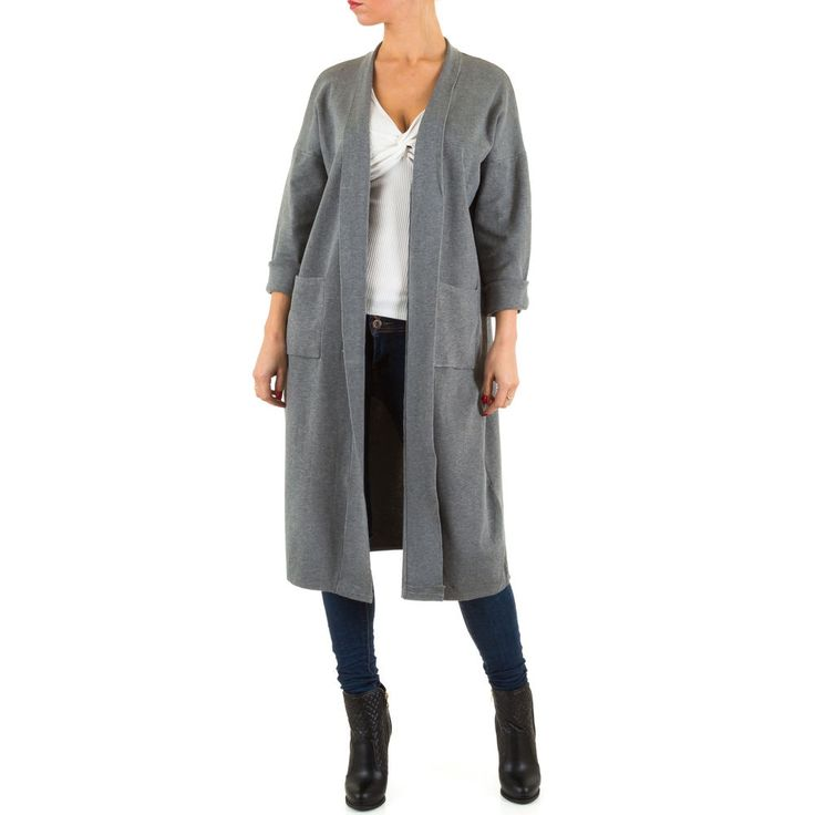 Langer Damen Stretch Rippstrick Cardigan mit cooler Aufschrift am Rücken.