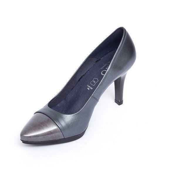 Zapato salón mujer tacón color gris plomo cómodo - Comfort women's shoes pump heel grey plumb- miMaO Fashion Night Patent Leather