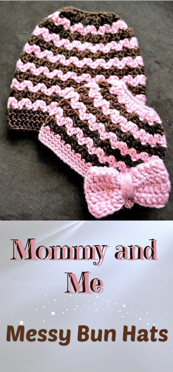 Free crochet pattern for the Mommy and Me Messy Bun/Ponytail Beanie, designed by Repeat Crafter Me. #CrochetBeanie
