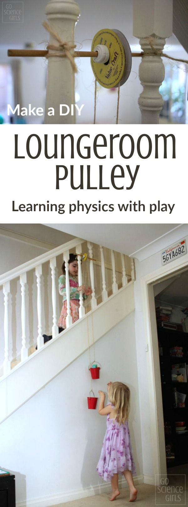 Make a DIY Loungeroom Pulley - fun way for kids to learn about physics and science through play