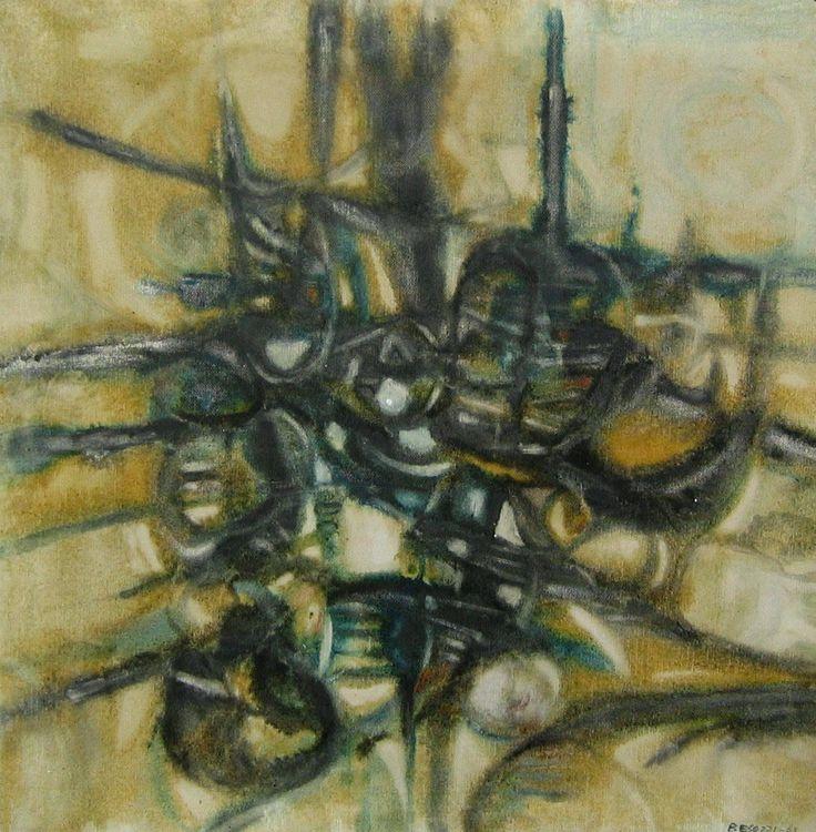 Ermanno Besozzi pittore 1963 Ricordo in Sicilia olio su tela firma b.d. cm 70x70 arc 1071  Esposizione: 1963 6° mostra nazionale di pittura Capo d'Orlando, Sicilia