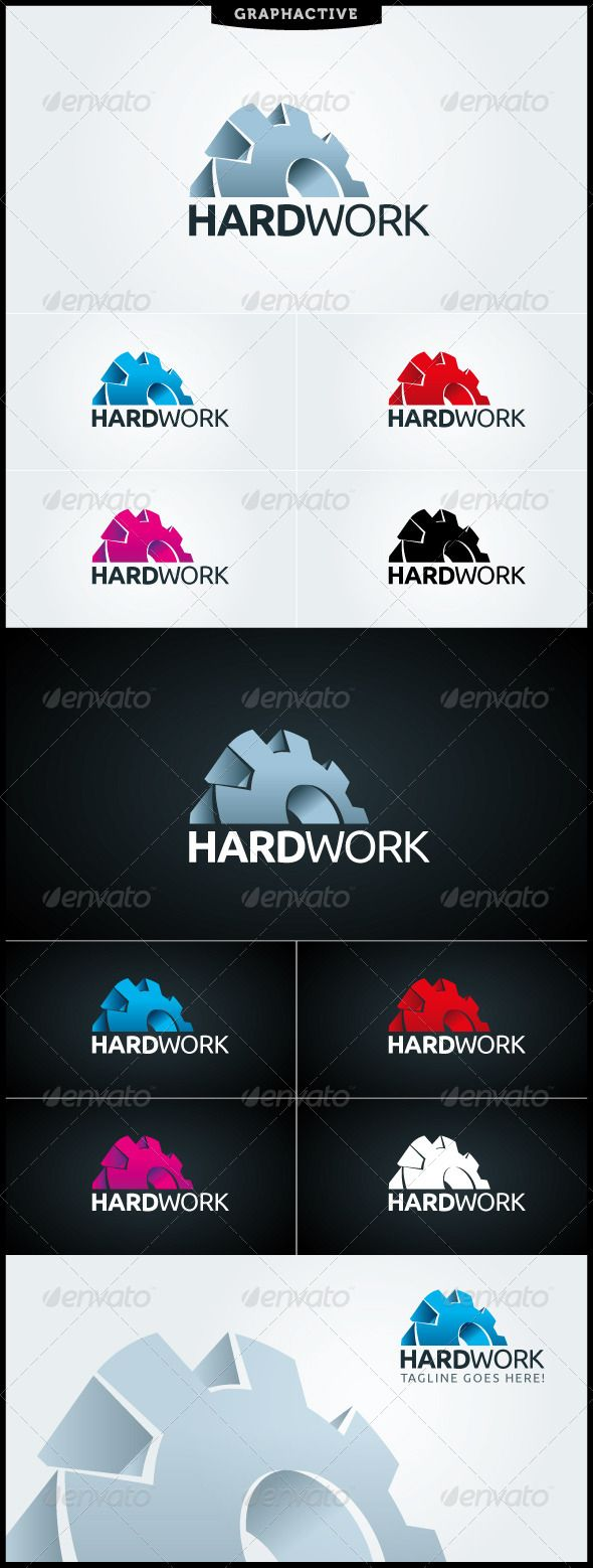"""Hard Work Logo Template #GraphicRiver """"HARDWORK"""" logo template suitable for manufacturing, engineering, machinery and mechanic businesses and services companies among others. You will have full color logo, black&white logo and many color variations in files. (CMYK color mode) 3d half wheel logo is easy editable. Two color degrees. Just click and change. """"HARDWORK"""" logo template is totaly vector logo design. You can find in package Illustator CS.ai and .eps files. Free Font"""