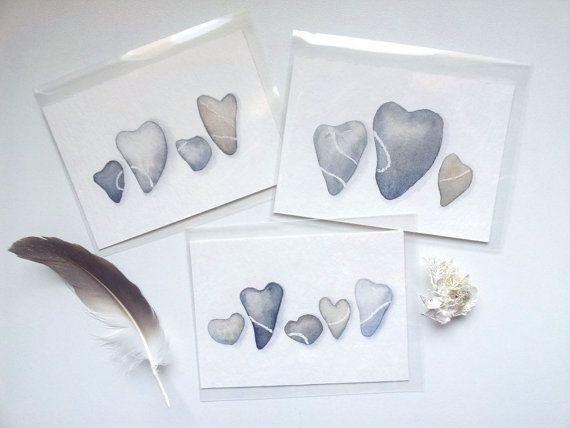 Lamour est plus fort que la pierre...    Collection de 3 cartes dart de ma série Galets de Coeur. Chaque ACEO est une peinture aquarelle originale