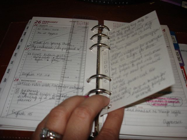 use 3x5 cards in your planner for to-do lists. punch holes, then slice holes, so you can move the list without opening rings.