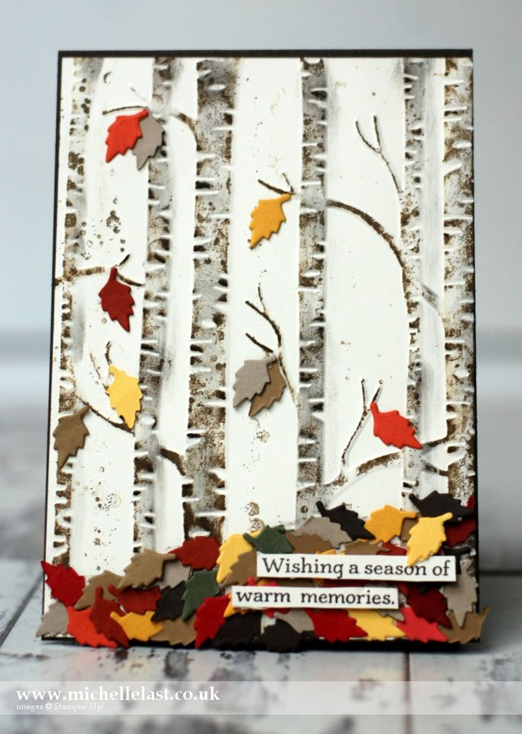 Autumn Card made for the Global Design Project using the Woodland Embossing Folder from Stampin Up by Michelle Last a top UK Stampin Up Demonstrator