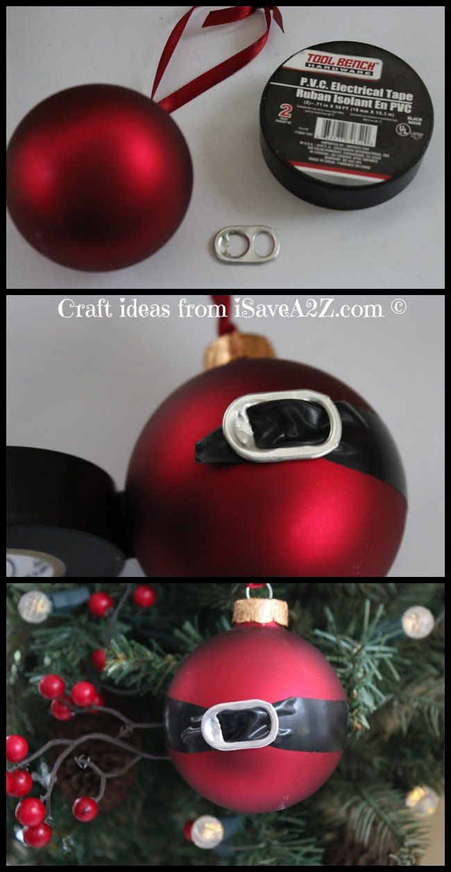 DIY Santa Ornament Craft Idea (soda tab and black electical tape and a red ball ornament)