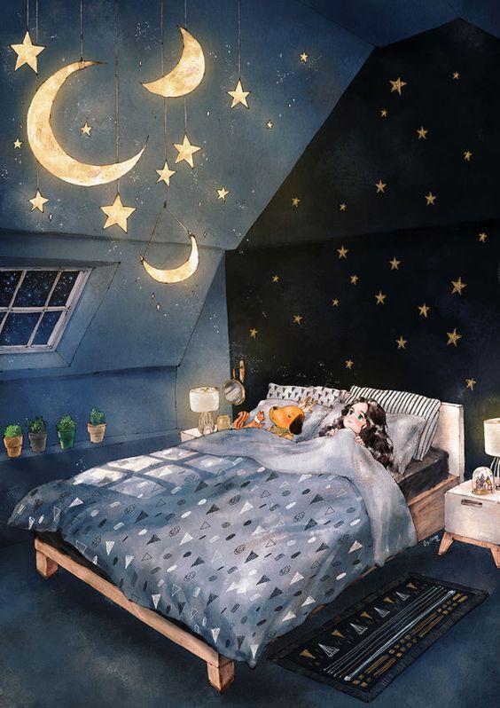(달과 별 조명 Moon and star lighting) 푸른 밤하늘 밝게 빛나는 달과 반짝이는 별을 내 방 침대 위 천장에 달아 둘 수 있다면 얼마나 좋을까요? 밤이 되면 침대에 누워 한참이나 천장을 바라보다가 동화처럼 즐겁고 포근한 꿈에 빠져들 것만 같아요