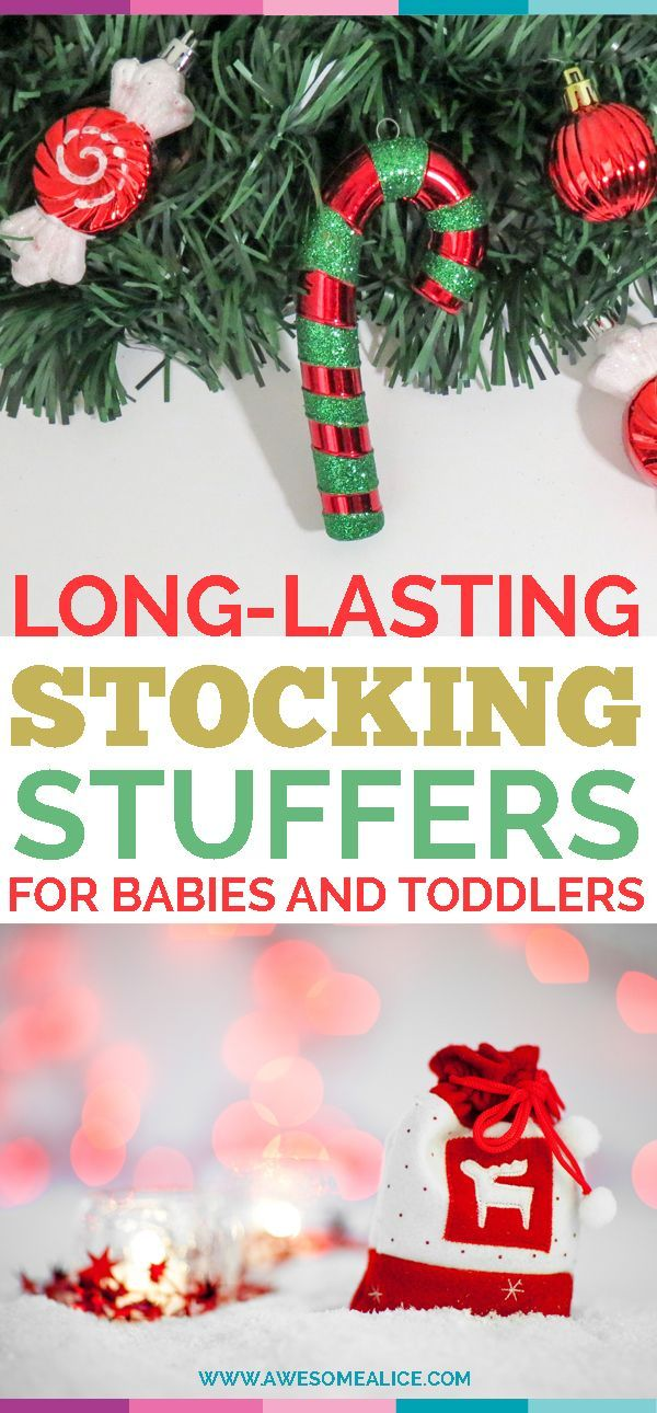 Are you looking for long-lasting stocking stuffers for babies and toddlers? Here are 12 great stocking stuffers for babies and toddlers that are sure to last long after the Holidays are over. #Holiday #Christmas #Stockingstuffers #Babies #Toddlers www.AwesomeAlice.com