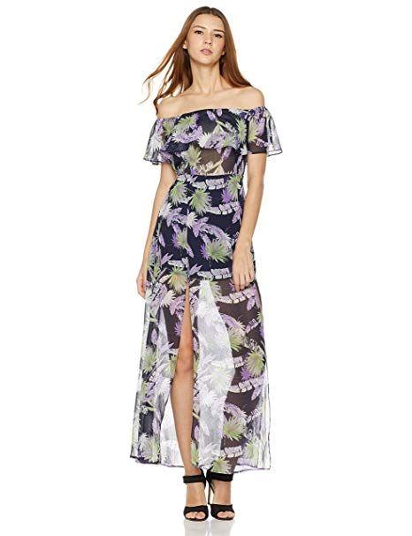 1bf3458d5f004 Plumberry Women's Off Shoulder Floral Summer Chiffon Maxi Dresses L Purple