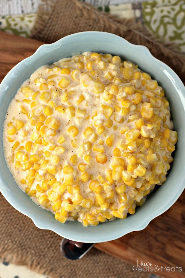 Crock Pot Cheddar Creamed Corn ~ Serves 9 The perfect easy side dish for your main dish!