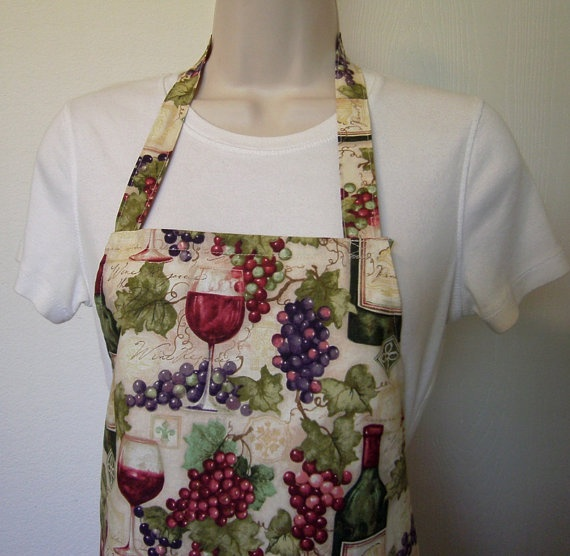 Full Apron  Wine Country by BonniesSewCrazy on Etsy, $12.00: Wine Country, Aprons Wine, Full Aprons