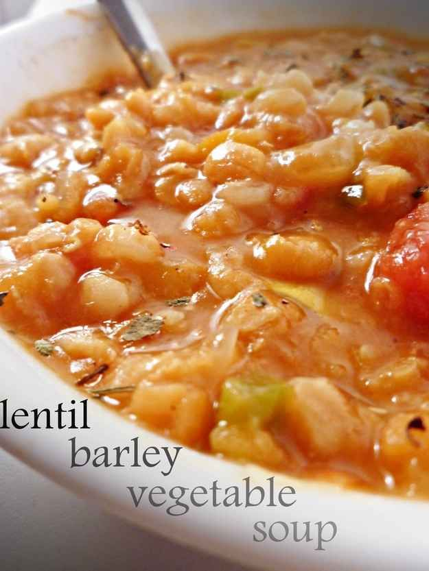 Crock Pot Lentil Vegetable Barley Soup | 21 Meals With Tons Of Protein And No Meat