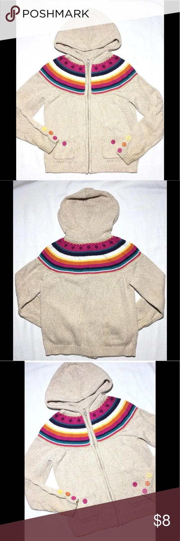 """Gymboree L 10 12 Sweater Cardigan Hoodie Girls GymboreeZip Up CardiganSweater Girls Size L 10 12 Large Tan Beige Rainbow Hoodie Great used condition - shows slight wear on cuffs only. Measurements taken laying flat: Chest: 15"""" Sleeve length from center: 25.5"""" Sleeve length from armpit: 15.75"""" Overall length: 20"""" Gymboree Shirts & Tops Sweaters"""