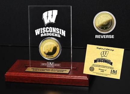 Wisconsin Badgers 24KT Gold Coin in an Etched Acrylic Desktop Display from The Highland Mint… #SportingGoods #SportsJerseys #SportsEquipment