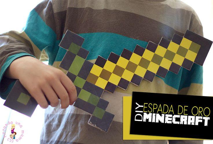 DIY Espada Minecraft Imprimible con Caja de Cartón