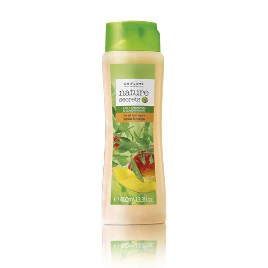 Champú y Acondicionador 2 en 1 con Jojoba y Mango Nature Secrets JUMBO (21854) Experimenta en tu cabello las propiedades suavizantes del aceite de Jojoba desenredante y acondicionador y el Mango rico en antioxidantes protector y nutritivo. Para todo tipo de cabello.