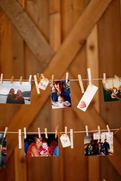 cute idea for any party. pin pictures on a clothesline of the person you are celebrating that day. love this