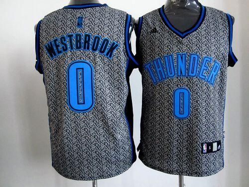 newest dc087 646e4 Thunder #0 Russell Westbrook Grey Static Fashion Stitched ...