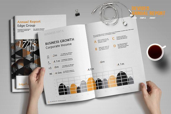 Devided Annual Report Template by BizzCreatives on @creativemarket