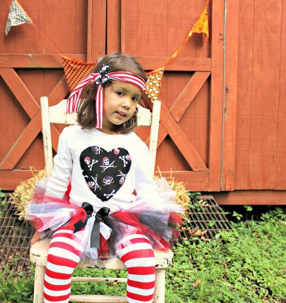 Baby Girl Pirate Outfit Halloween Pirate Costume Tutu Legwarmers Shabby Headband Bow Baby 1st Halloween