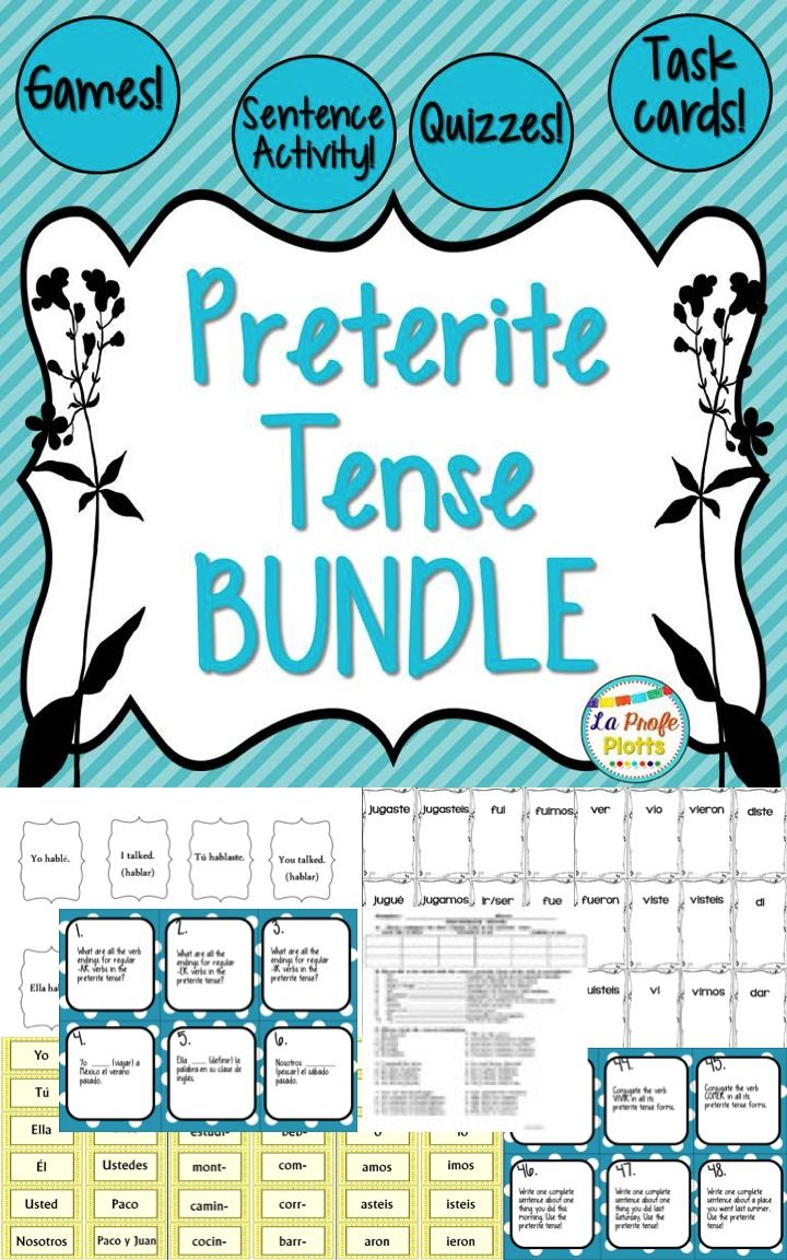 This Spanish preterite tense bundle includes five of my preterite tense resources at a savings of 25%! That's 48 cards task cards, the super fun games ¡Pesca! (Go Fish) and ¡Cucharas! (Spoons), the hands-on preterite tense sentence building activity, and the easy-to-grade quizzes and answer keys. Everything is ready to print, cut, and use!