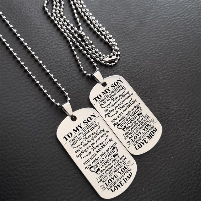 Gold Pink Box Solid Stainless Steel Sentimental Message Tag Necklace to Mom from Son