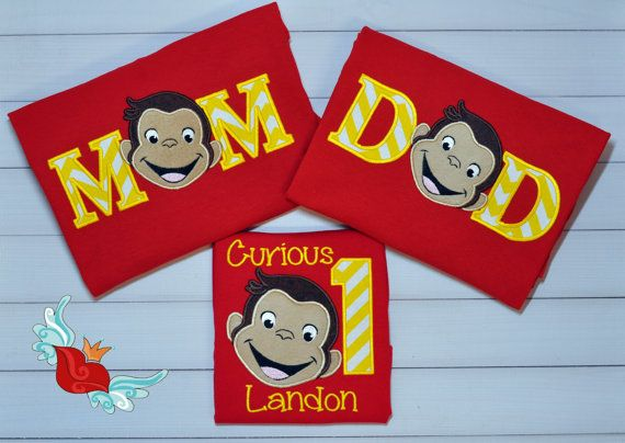 Curious George - Inspired- Parents -Birthday- Shirt - Mom - Dad - Applique- t-Shirt -Custom- Personalized- Embroidery - Adult - Name