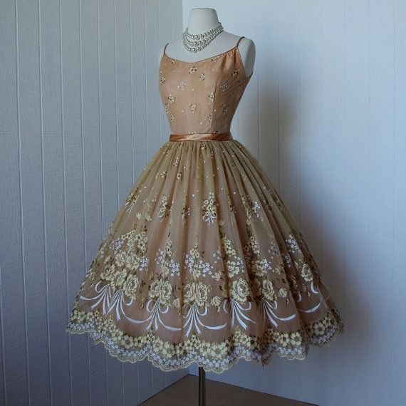 vintage 1950's dress ...gorgeous HAND PAINTED floral golden apricot chiffon and…