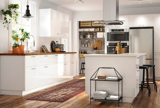 Ikea Sektion Kitchen With High Gloss White Ringhult Door