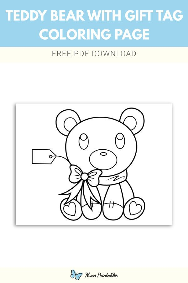Free Printable Teddy Bear With Gift Tag Coloring Page Download It