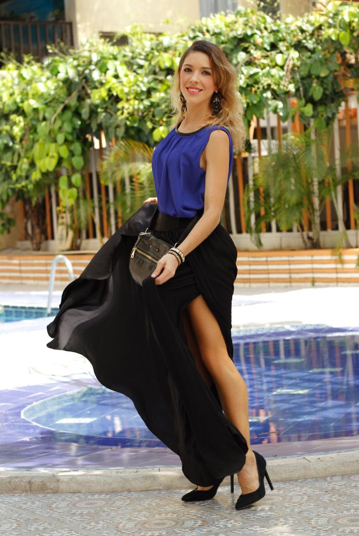 Mango Office Chic Look Mix a long black skirt with a basic bright blue