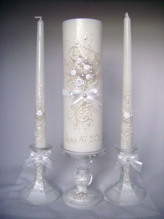 Elegant Wedding unity candle set in white 3 by PureBeautyArt, $74.00